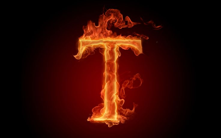 The fiery English alphabet picture T
