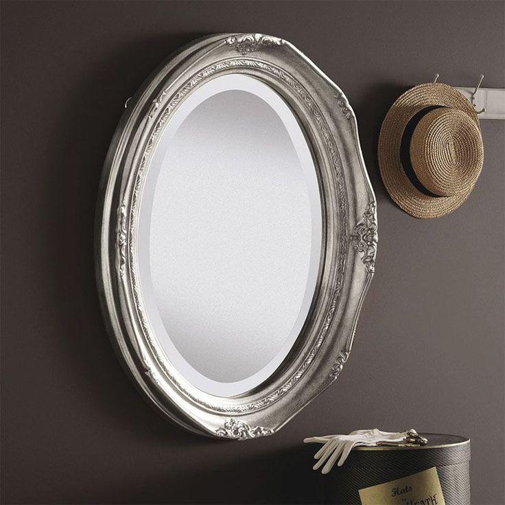 Deep Framed Oval Silver Wall Mirror 50x40cm