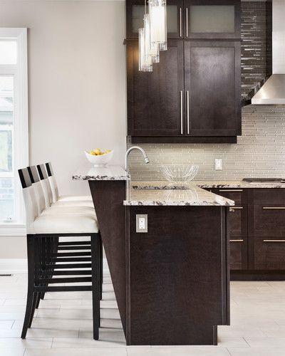 Dark espresso cabinets Barstools
