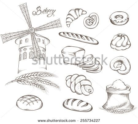 Hand drawn Set of vintage bakery icons: flour, mill, bread and other pastries…
