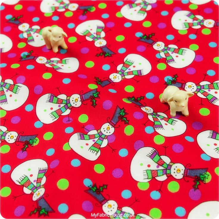 Christmas ♥ 51x53cm Snowman & Colourful Snow in Hot Red Cotton Fat Quarter Fabric £3.25