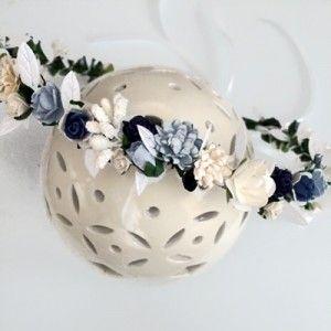 navy floral crown