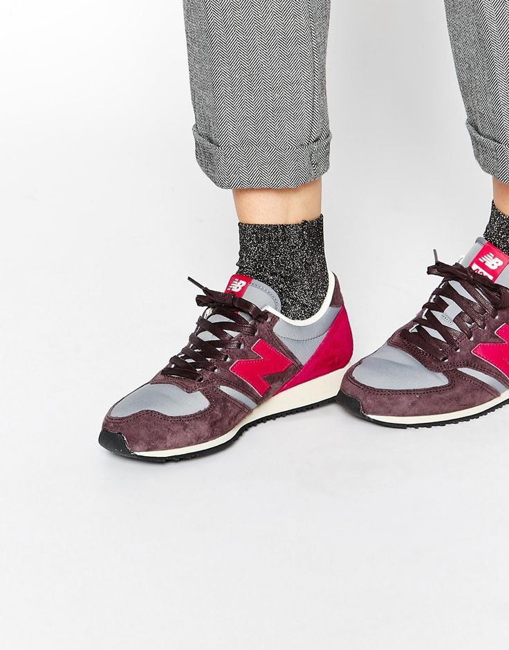 New Balance 420 Burgundy/Pink Trainers
