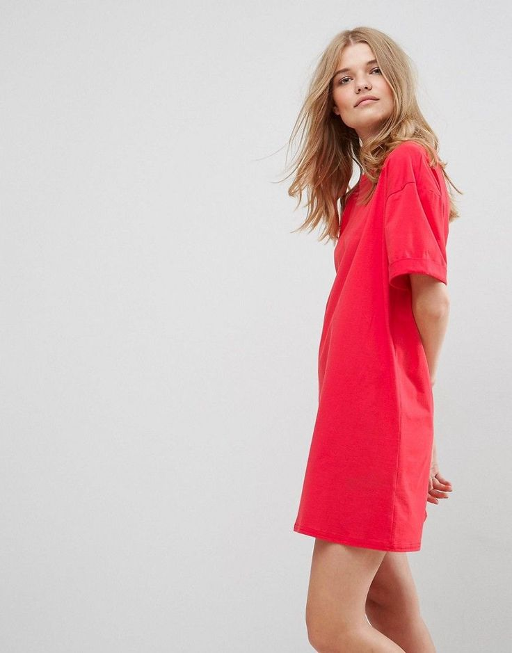 ASOS Ultimate T-Shirt Dress with Rolled Sleeves - Red