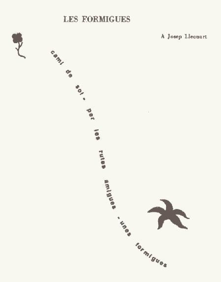 "Caligrama ""Les formigues"" de Joan Salvat Papasseit"