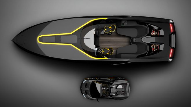 Officina Armare Design has unveiled a luxe day cruiser, the that mirrors the Lamborghini Centenario Roadster in both beauty and brawn. Bmw X7, Mustang Fastback, Yacht Design, Pagani Huayra, Luxury Yachts, Luxury Cars, Bugatti, Speed Boats, Led Headlights