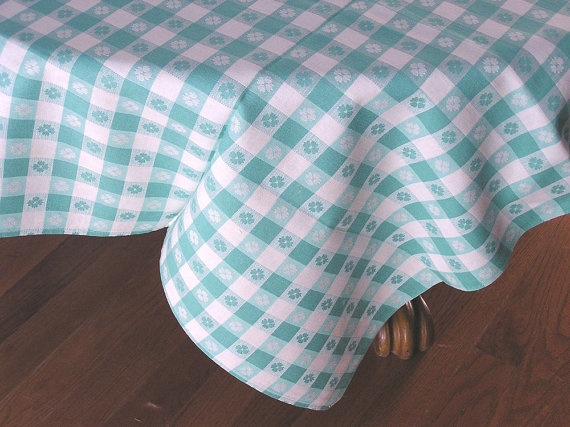 Vintage Checkered Tablecloth by CVAtreasures on Etsy