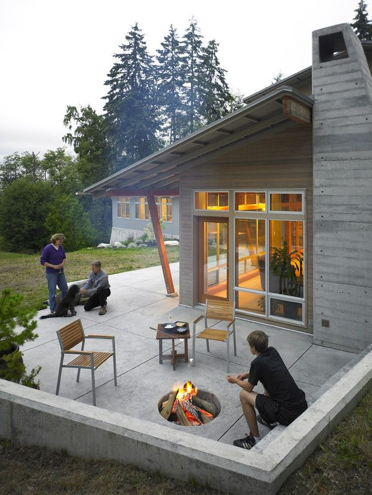 8 best mid century patios images on pinterest | outdoor patios ... - Concrete Patio Designs With Fire Pit