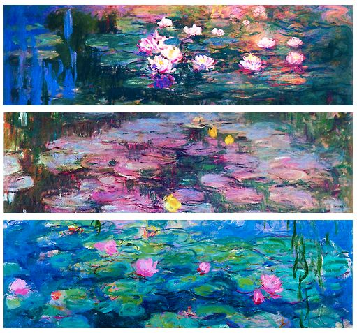Claude Monet - Water Lilies I have seen some of the large water lilly paintings by Claude Monet in the Kunsthaus, Zurich a few years ago in the exhibition, Monet's Garden. These vast canvases are mesmerising - I remember feeling I could dive into the ponds of painted water. From memory, they seemed to be layers and layers of paint to give an infinite depth to the water, not thickly applied but many layers/
