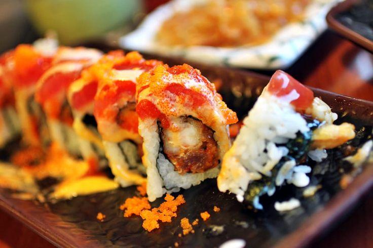 Photo of Fuji Sushi Buffet - Elk Grove, CA, United States. Spicy Ninja Roll - shrimp tempura, spicy tuna (inside); seared tuna (outside)