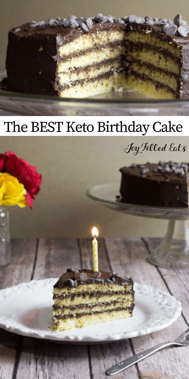 Classic Yellow Birthday Cake with Chocolate Icing – Keto, Low Carb, Gluten, Grai…  – Keto Desserts