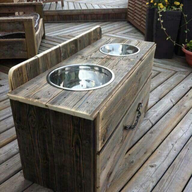 Yard sale dressor into dog food station