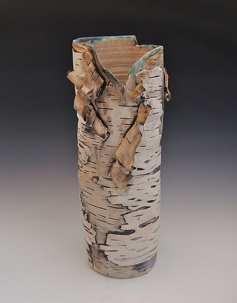 Subtle Surface Vase with Green: Lenore Lampi: Ceramic Vase - Artful Home