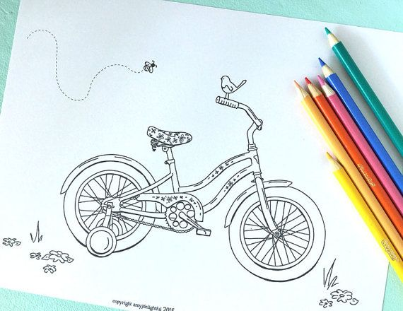 Printable Little Girl S Bicycle Coloring Page Digital File