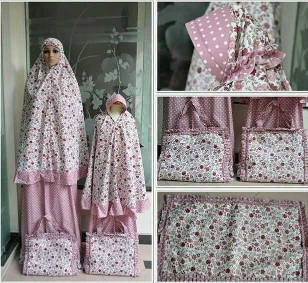 Mother Daughter Matching Prayer Outfit Clothes Dress Telekung Mukena Girls Women