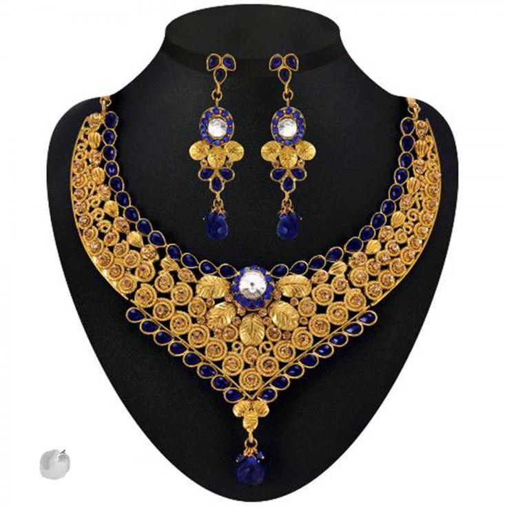 Blue Kundan Austrian Stone Drop Gold Finish Necklace Sets