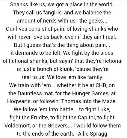 I wrote this and screen-shot it... Sorry if there are spelling mistakes, my spell check doesn't work. I hope you like it, and are in all of those fandoms! SPREAD THE WORD!!!<<<yeah Allie I'm in all these fandoms.  this is a cool pin,I like it