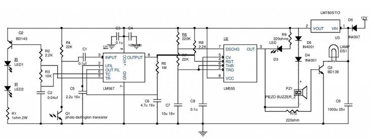 Car Parking Guard Circuit Using Infrared Sensor Circuit