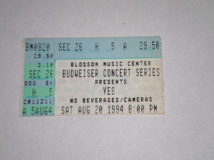 "YES Concert Ticket Stub-Blossom Music Center-Ohio-1994-""Talk"" Tour  | eBay"