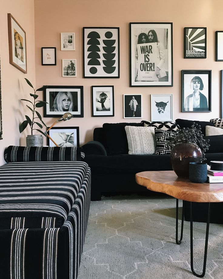 My living room! @michellematangi  Showing my love for monochrome, pattern and strong geometric shapes! Gallery wall.