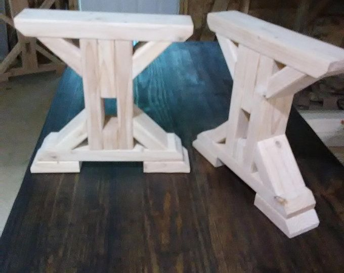 Farmhouse Triple Double Trestle Table Diy Kit Made To Order Etsy Trestle Table Trestle Dining Tables Diy Bench