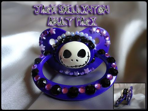 This+is+a+one+large+adult+size+silicone+pacifier+in+a+Jack+Skellington+theme.+NOT+FOR+CHILDEREN    The+shield+is+approximately+2+5/8+inch+wide+and+1+7/8+tall.The+nipple+extends+1+5/8+inch+from+the+shield.+    The+nipple+shape+is+identical+to+the+NUK+5+but+slightly+larger.+some+would+cal+this+a+NU...