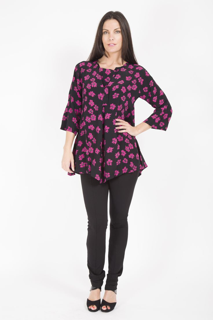 MASAI LONG SLEEVE FLORAL PRINT TUNIC WITH SIDE POCKETS