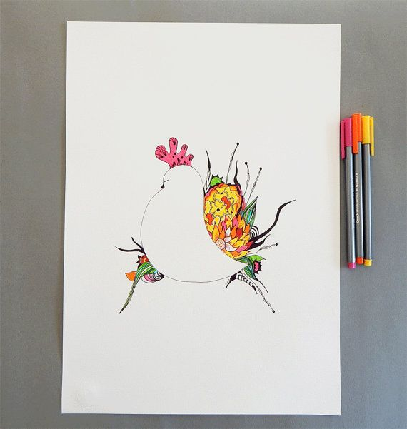 Bird original drawing. Bird illustration. Bird and by DecorAsylum