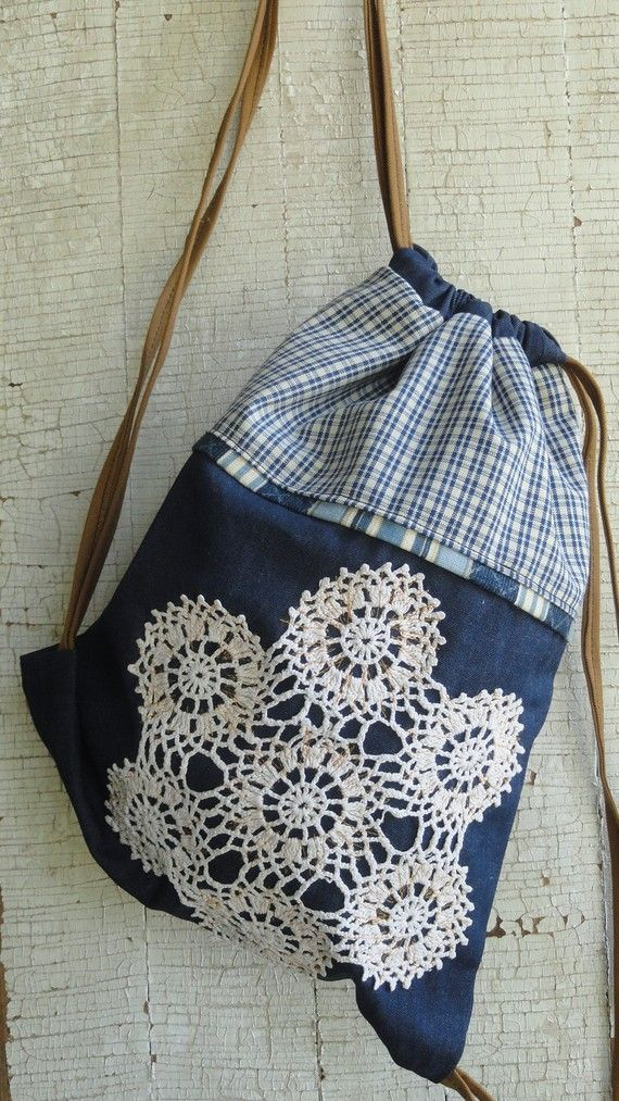 Denim and Doily Drawstring Backpack by unchanginggrace