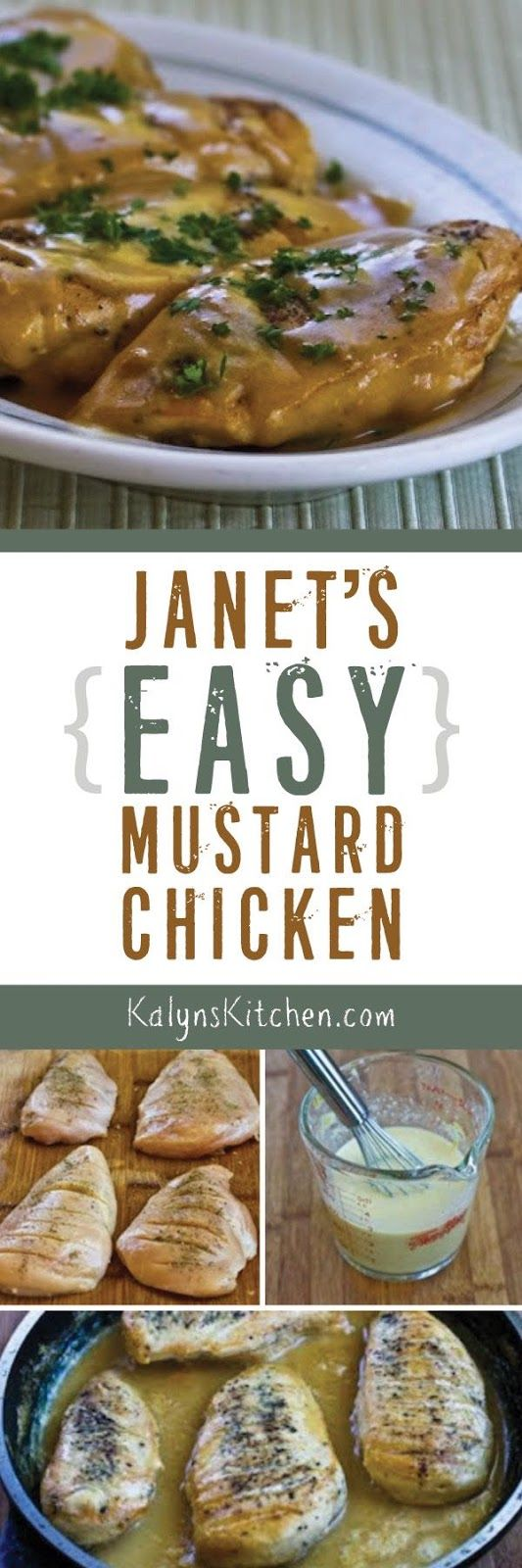 I got this recipe for Janet's Easy Mustard Chicken from my sister Janet, and this tasty quick and easy chicken dinner is low-carb, Keto, low-glycemic, gluten-free and South Beach Diet friendly! [found on KalynsKitchen.com]: