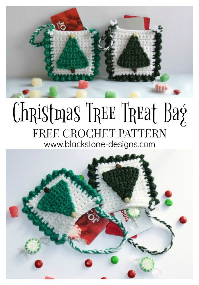 Christmas Tree Treat Bag free crochet pattern from Blackstone Designs Post includes a list of suggestions for fillers.