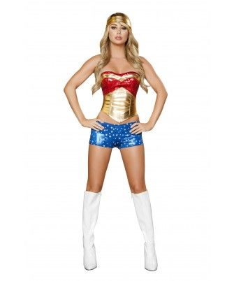 Roxanni Halloween -4pc Wonder Heroine Women's Costume by Roma®  Find More: http://www.imaddictedtoyou.com/