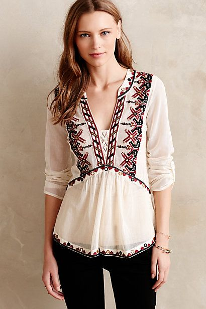 Peasant blouses like this are everywhere, but this is one of the nicest, and best quality, that I have seen. Got the beige, and the fabric on this one is very light but not thin or gauzy or flimsy, like so many are It is fun to accessorize with a wide belt and jeans and it even looks pretty good with a dark brown suede vest.