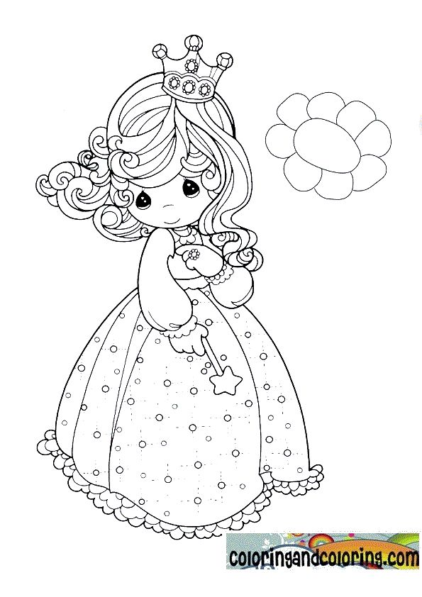 precious moments girl dressed in princess coloring