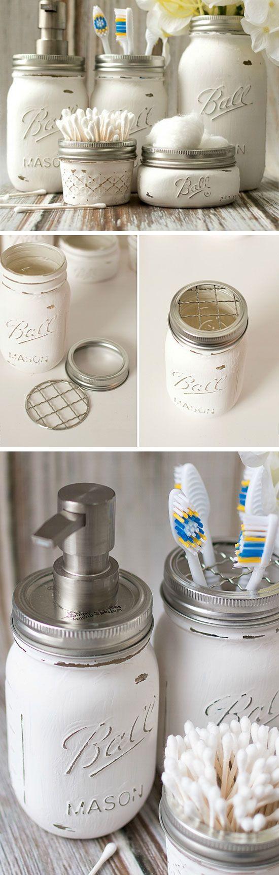 Mason Jar Bathroom Storage & Accessories | Dollar Store Organizing Ideas for Bathrooms
