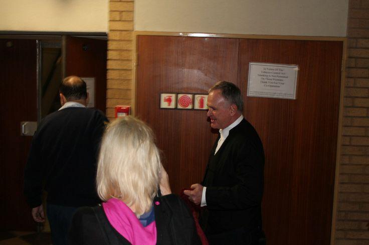 Oscar Pistorius' defence lawyer, Barry Roux arrives at court.