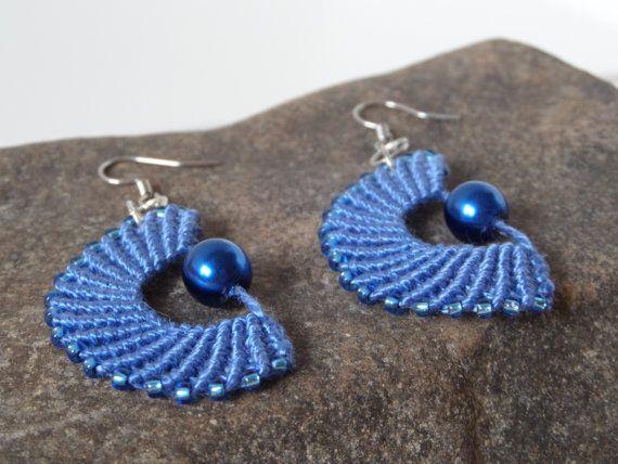 OOAK blue micro macrame dangle earrings fashion by Kreativprodukte