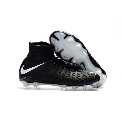 Nike Hypervenom - Nike Fodboldstøvler Hypervenom Phantom III DF FG Sort Hvid Blå