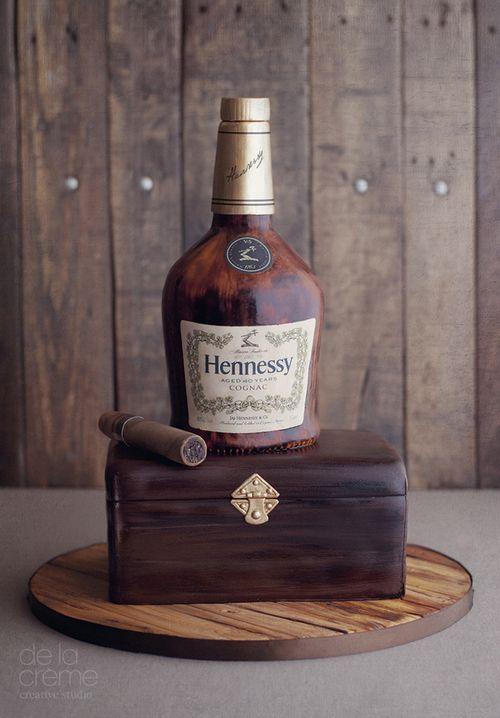 Hennessy + Cigar cake designed by De la Creme Creative Studio