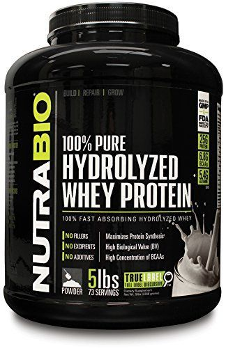 NutraBio 100% Pure Hydrolyzed Whey Protein (5 Pounds Unflavored) - Ultra Fast Absorbing Protein Source. >>> Find out more about the great product at the image link.