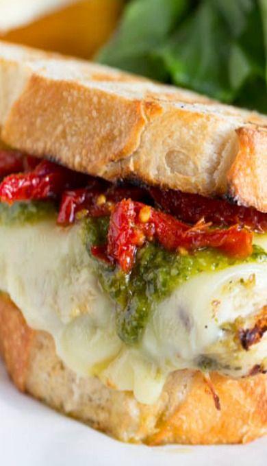 Cheesy Grilled Pesto Chicken and Sundried Tomato Sandwich