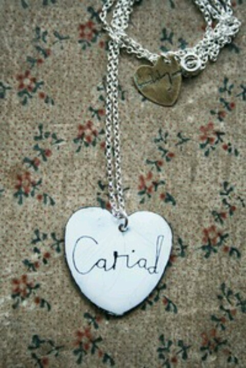 'cariad' (Welsh for love) enamel necklace from J and B the shop