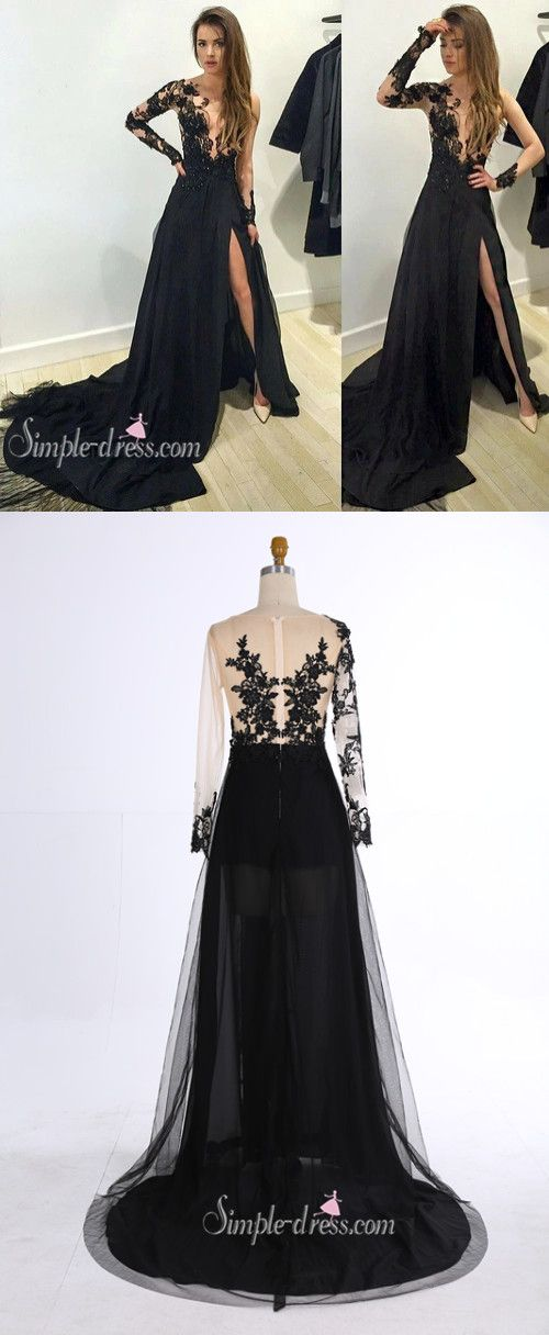 prom dress 2016, sheer prom dress, black long sleeves prom dress with side slit, evening dress