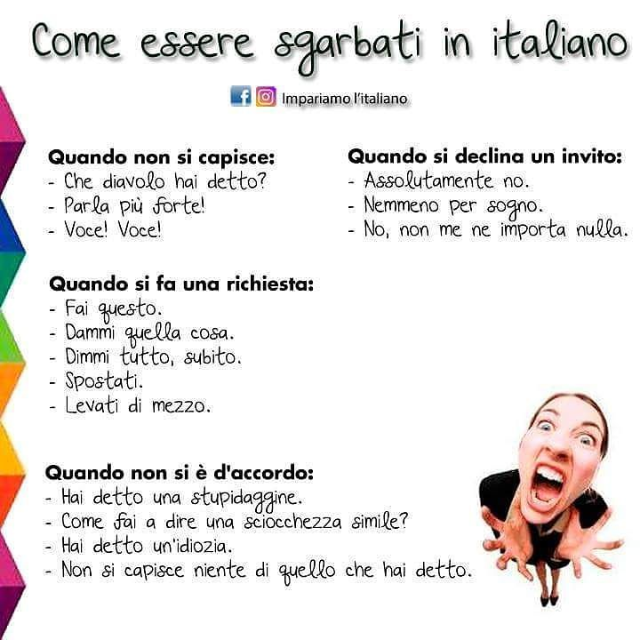 Come essere sgarbati in italiano  #impariamoitaliano  #learnitalian #learningitalian #italianvocabulary #studyitalian #linguaitaliana #languages #parliamoitaliano #italianlanguage #languagelearning #italianol2 #aprenderitaliano #speakitalian #italianonline #italianlessons #italianteacher #italianopertutti #italianoperstranieri #italianquiz