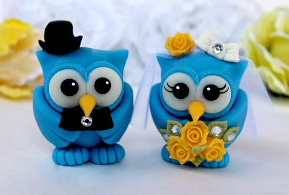 Dazzling blue owl wedding cake topper, customizable love birds with banner on Etsy, $79.15 CAD