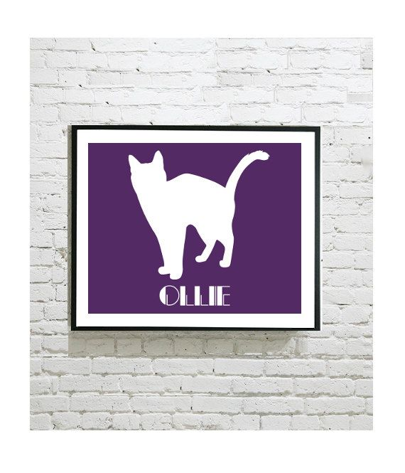 """Cat Silhouette Digital Art Print - Siamese - Pet Portrait - Personalised Gift - Personalized Print - Cat Lover - Home Decor - 8""""x10"""" Print by OutlineArt"""