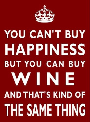 """You Can'T Buy Happiness But You Can Buy Wine""  Love this poster!"
