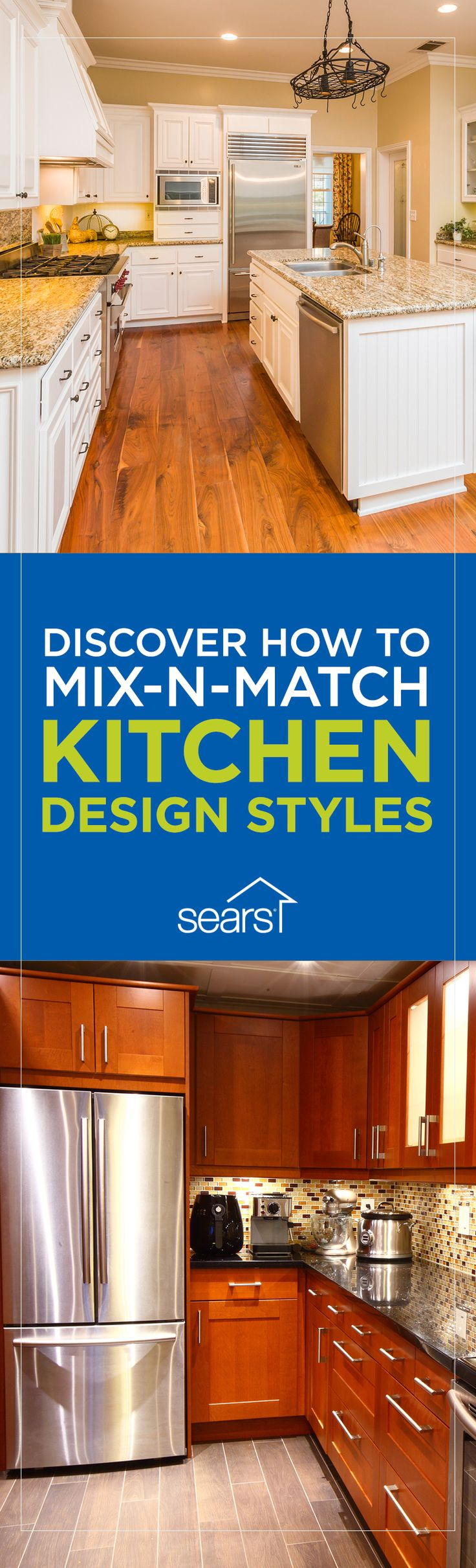 How to Blend Kitchen Design Styles: Can't decide between a modern or traditional kitchen? Not only is it OK to mix styles, it's actually a major trend right now. You can update some elements by refacing the cabinets or adding new counters or a backsplash to infuse your kitchen with a fresh look. Merge modern with country? How to design a transitional kitchen? Check out the Sears Home Services blog for tips to help you create the perfectly balanced space that meets all of your needs.
