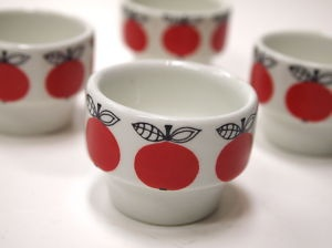 Sweet little apple design egg cups from Arabia Finland.