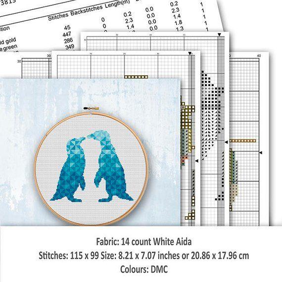Arctic Animals Cross Stitch Chart Geometric Penguins Silhouette Cross Stitch Pattern Pdf Modern Triangle Mosaic Pattern Instant Download Cross Stitch Patterns Cross Stitch Chart Mosaic Patterns